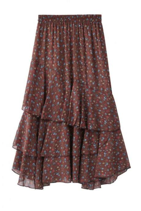 Women Asymmetrical Long Skirt Chiffon Summer High Waist Boho Floral Print Midi A Line Skirt Brick red floral