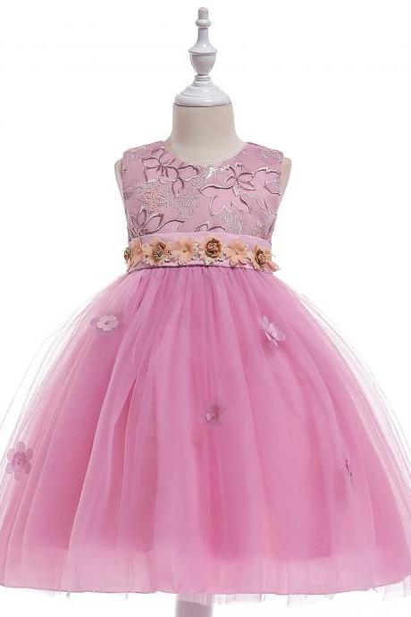 Embroidery Flower Girl Dress Belted Communion Party Tutu Gown Pastoral Children Clothes blush