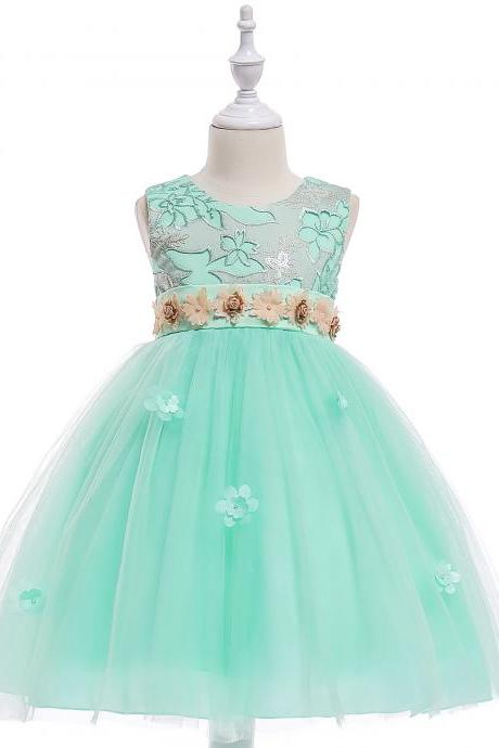 Embroidery Flower Girl Dress Belted Communion Party Tutu Gown Pastoral Children Clothes mint