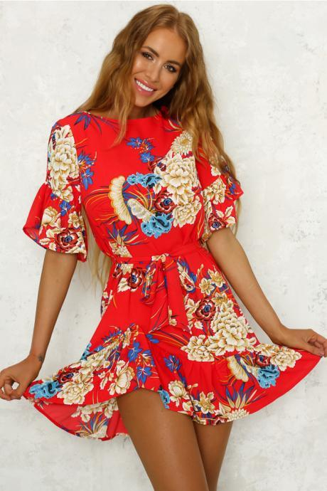 Bohemian Floral Printed Summer Dress Women O-Neck Short Sleeve Ruffle Mini Belted Beach Dress red