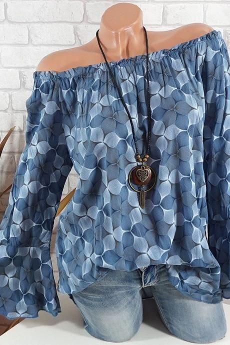 Off the Shoulder Top Women Office Work Floral Print Flare Sleeve Blouse Casual Loose Shirt blue