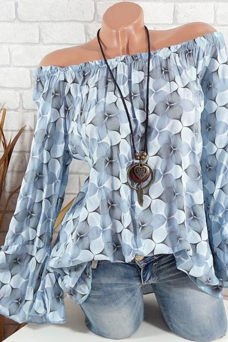 Off the Shoulder Top Women Office Work Floral Print Flare Sleeve Blouse Casual Loose Shirt gray