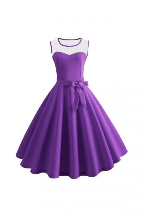 Women Sleeveless Casual Dress Mesh Patchwork O-Neck Belted A-Line Work Party Dress purple