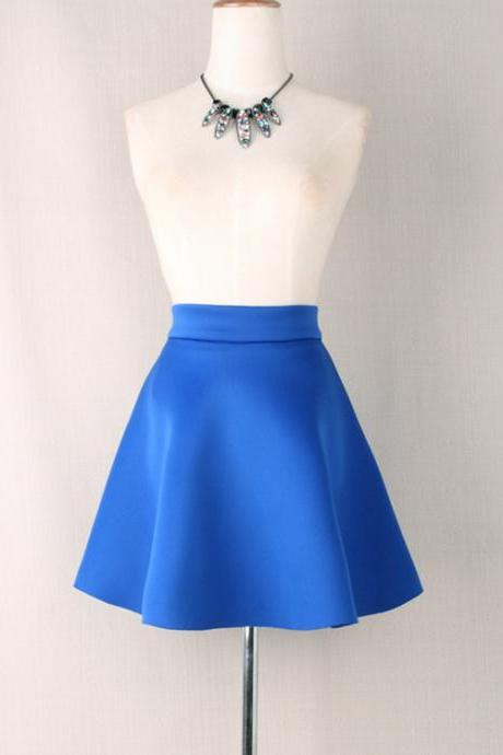 Women Mini A Line Skirt Summer High Waist Casual Party Short Skater Skirt blue