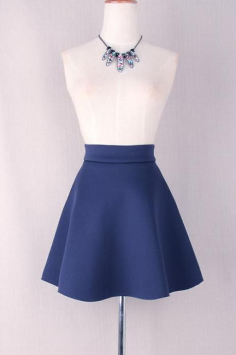 Navy Blue High Rise Short Skater Skirt