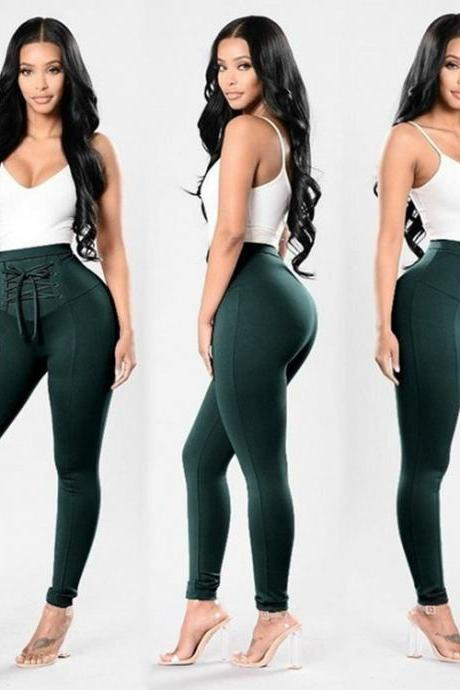 Green High Waist Skinny Legging Joggers, Sports Pants with Lace - Up Detail