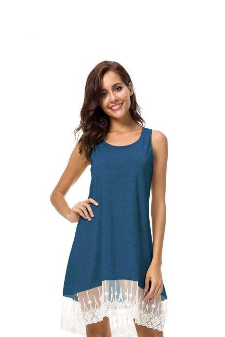 Women Casual Short Loose Dress Sleeveless Summer Beach Lace Splice Asymmetrical Mini Sundress dark blue