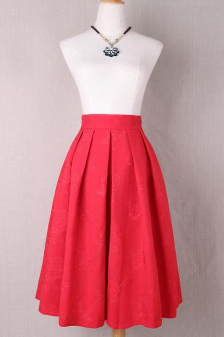 Women Floral Print A Line Skirt High Waist Tutu Pleated Zipper Pocket Midi Skater Skirt red
