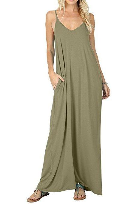Women Maxi Dress Sexy V Neck Sleeveless Spaghetti Strap Pocket Solid Loose Casual Dress Long Summer Sundresses army green