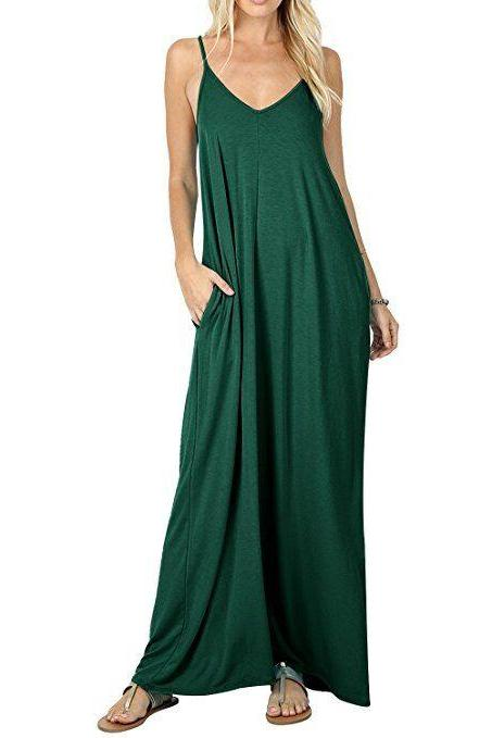 Women Maxi Dress Sexy V Neck Sleeveless Spaghetti Strap Pocket Solid Loose Casual Dress Long Summer Sundresses hunter green