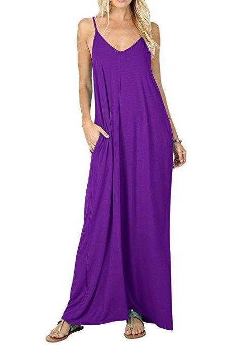 Women Maxi Dress Sexy V Neck Sleeveless Spaghetti Strap Pocket Solid Loose Casual Dress Long Summer Sundresses purple