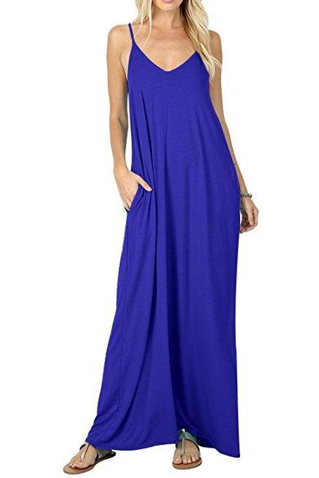 Women Maxi Dress Sexy V Neck Sleeveless Spaghetti Strap Pocket Solid Loose Casual Dress Long Summer Sundresses royal blue