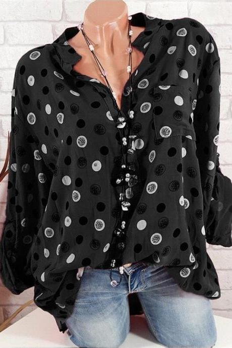 Women Polka Dot Print Blouse Long Sleeve V Neck Office OL Lady Casual Tops Shirts black