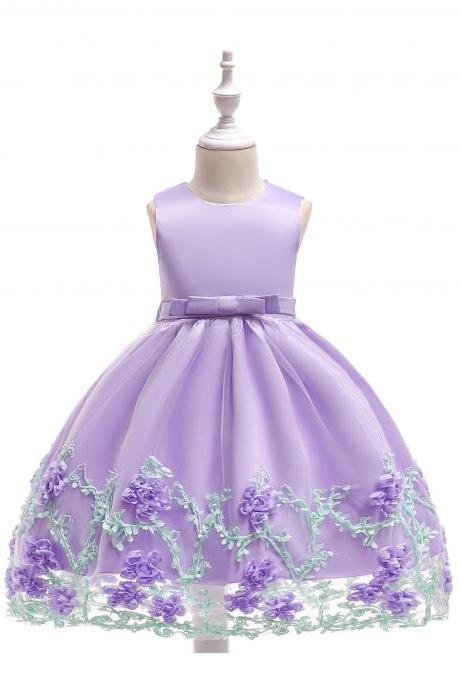 New Flower Girl Dress Birthday Prom Party Formal Tutu Gown Children Clothes lilac