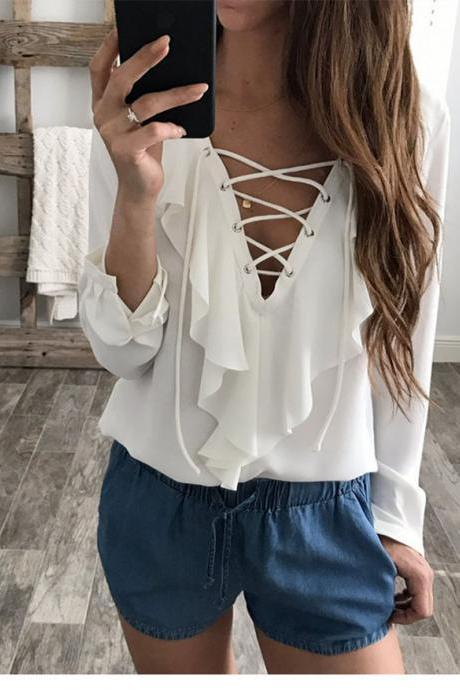 Women Chiffon Blouse Summer Lace Up V Neck Ruffles Long Sleeve Polka Dot Casual Plus Size Tops Shirt off white
