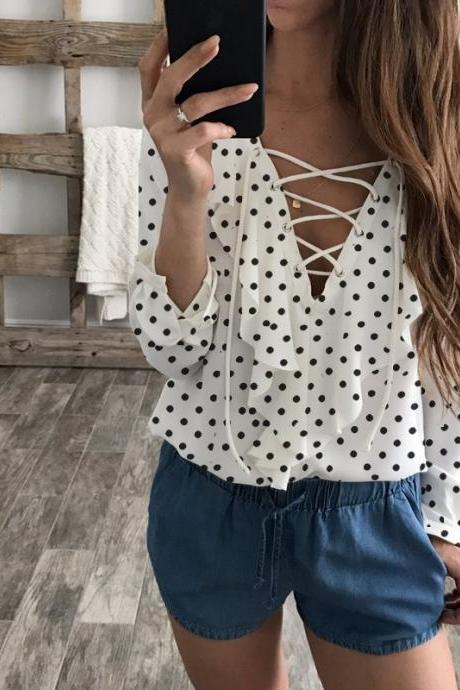 Women Chiffon Blouse Summer Lace Up V Neck Ruffles Long Sleeve Polka Dot Casual Plus Size Tops Shirt off white polka dot