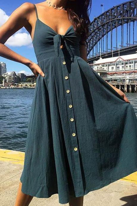 Sexy Bow Beach Summer Casual Dress Backless Button Spaghetti Strap V Neck Boho Midi Sundress 0849-cyan