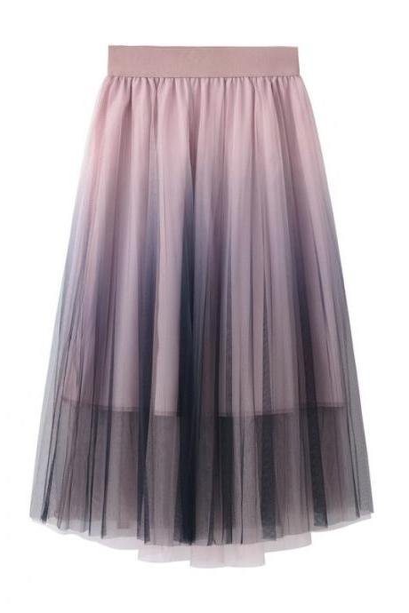 Sweet Gradient Color Tulle A-Line Midi Skirt High Waist Below Knee Tutu Skater Skirt pink