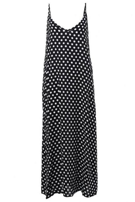 Women Summer Beach Maxi Dress Plus Size Spaghetti Strap Sleeveless Polka Dot Loose Long Sundress black