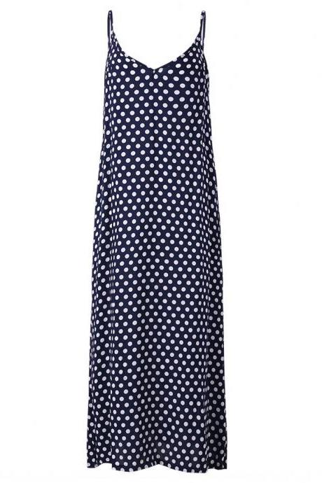 Navy Blue V-Neck Spaghetti Strap Plus Size Summer Maxi Dress with Polka Dots