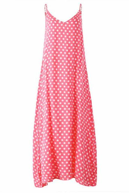 Pink V-Neck Spaghetti Strap Plus Size Summer Maxi Dress with Polka Dots