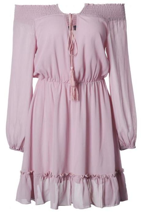 Women Off Shoulder Dress Casual Chiffon Bobo Summer Beach Tunic Mini Party Dress pink