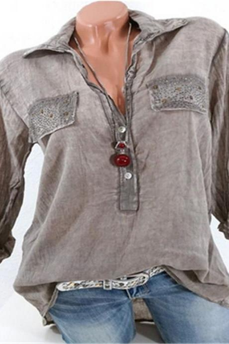 Fashion Long Sleeve Loose Blouse Women V Neck Office OL Work Casual Shirt Tops khaki