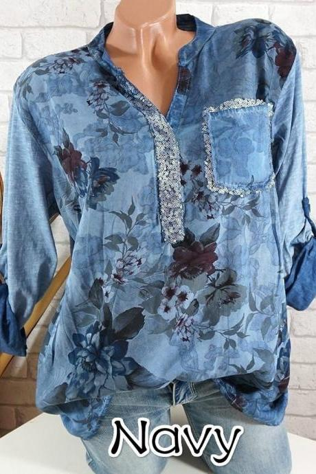 Boho Long Sleeve Floral Shirt Women V Neck Loose Tops Sequin Pocket Plus Size Casual Shirt dark blue