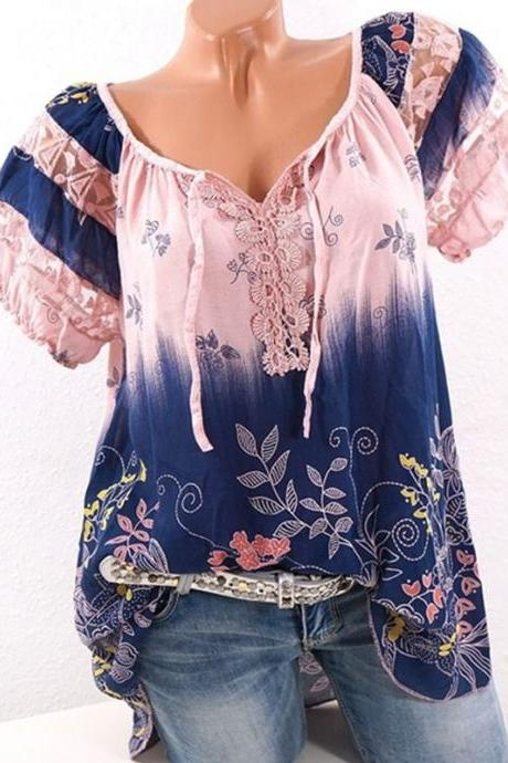 Plus Size Women Blouse Summer Hollow Out Lace Patchwork V Neck Tie Bohemian Floral Shirts pink