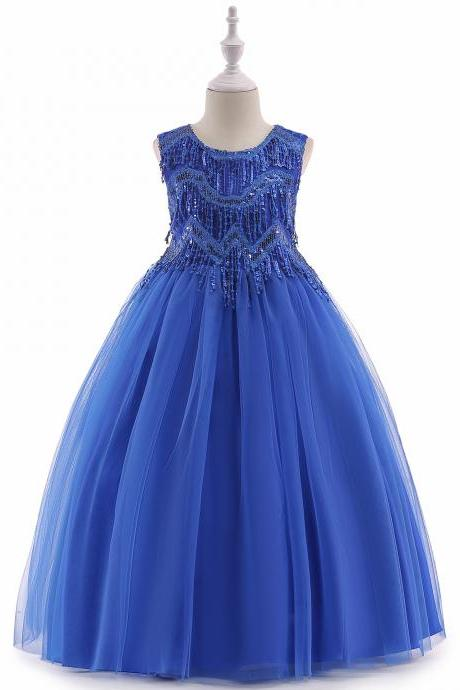 Beaded Flower Girl Dress Tassel Princess Formal Party Prom Long Gown Children Clothes royal blue
