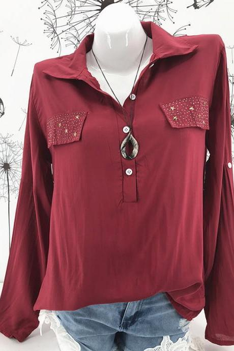 Women Blouse, Long Sleeve Blouse, Plus Size Blouse, Casual Blouse, Work Blouse, Office Blouse, Lady Tops Shirt crimson