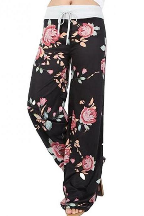Women Wide Leg Long Pants Floral Print Casual High Waist Drawstring Loose Palazzo Pajama Trousers1#