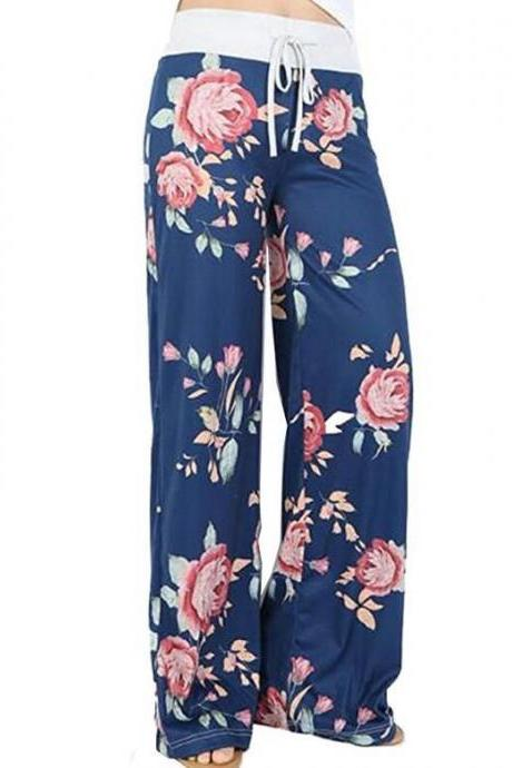 Women Wide Leg Long Pants Floral Print Casual High Waist Drawstring Loose Palazzo Pajama Trousers5#
