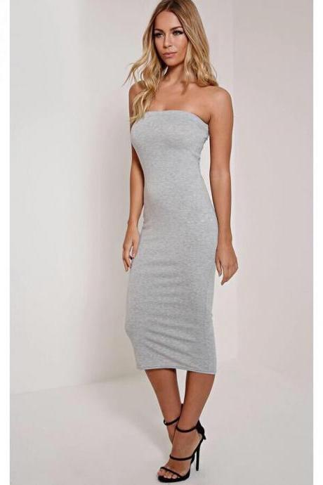 Women Summer Pencil Dress Strapless Beach Slim Bodycon Club Party Dress gray