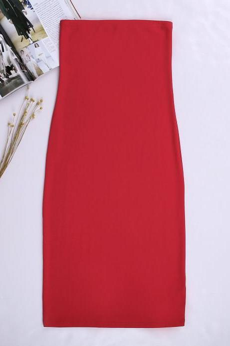 Women Summer Pencil Dress Strapless Beach Slim Bodycon Club Party Dress red