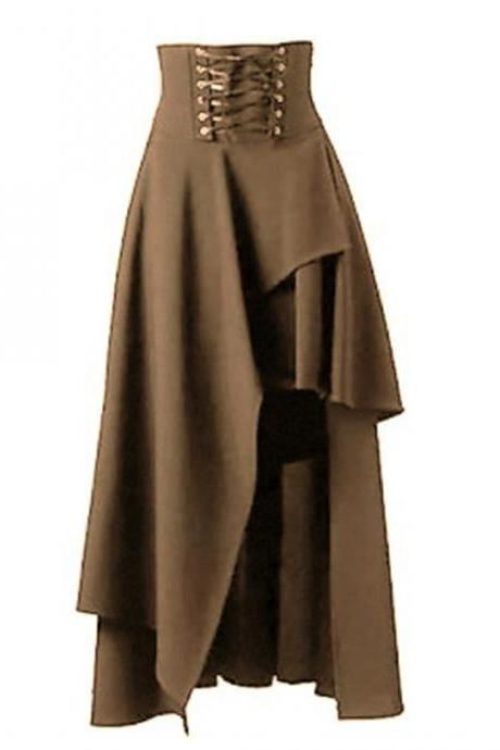 Gothic Steampunk Skirt Lolita Lace-Up High Waist Asymmetric Hem Bandage Long Maxi Skirts khaki