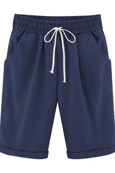 Plus Size Summer Woman Half Pants Mid Waist Drawstring Lady Casual Haren Short Trousers navy blue