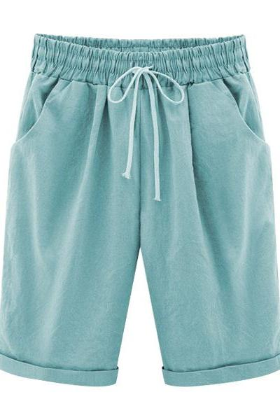 Plus Size Summer Woman Half Pants Mid Waist Drawstring Lady Casual Haren Short Trousers sky blue