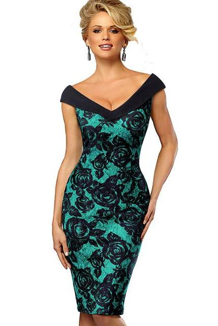 Women Floral Pencil Dress Sexy V Neck Sleeveless Sheath Bodycon Work Party Dress green