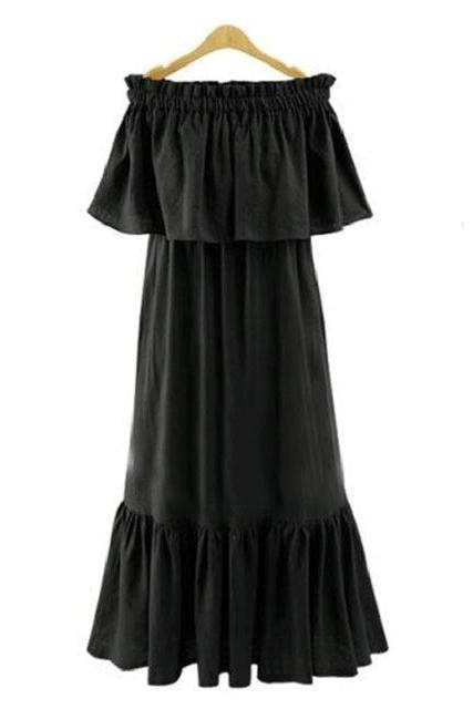 Black Ruffled Off-The-Shoulder Maxi Shift Dress