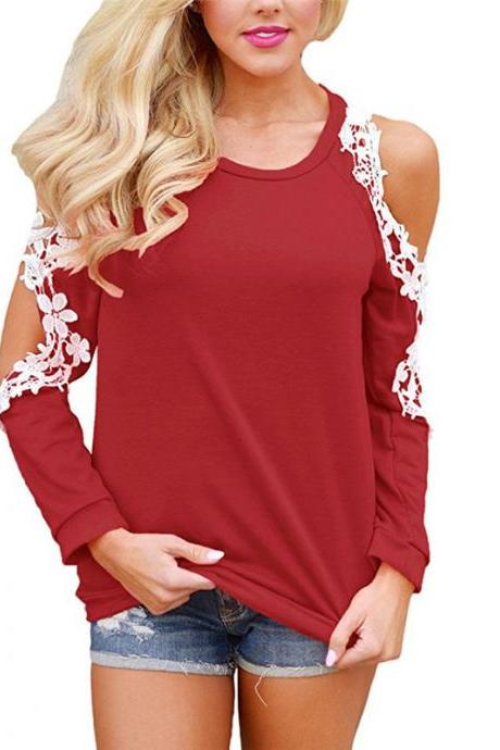 Off the Shoulder Top Blouse Women Casual Long Sleeve Hollow Lace Patchwork T-Shirt crimson
