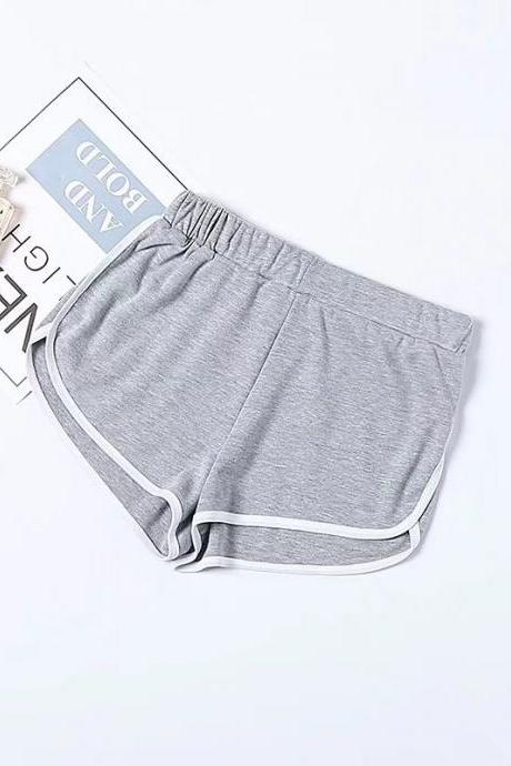 Women Summer Shorts Elastic Waist Streetwear Loose Letter Printed Soft Cotton Casual Shorts gray