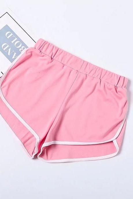 Women Summer Shorts Elastic Waist Streetwear Loose Letter Printed Soft Cotton Casual Shorts pink