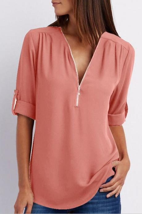Sexy V Neck Chiffon Blouse Long Sleeve Zipper Plus Size Streetwear Casual Loose Top T-Shirt orange