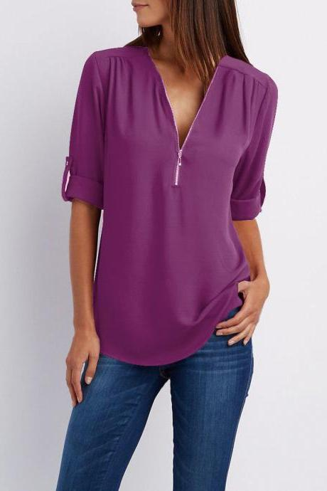 Sexy V Neck Chiffon Blouse Long Sleeve Zipper Plus Size Streetwear Casual Loose Top T-Shirt purple