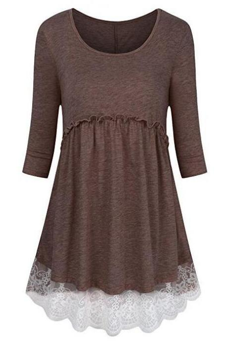 Women Tunic Blouse Cotton Half Sleeve Casual Lace Patchwork Peplum Tops T-Shirt coffee