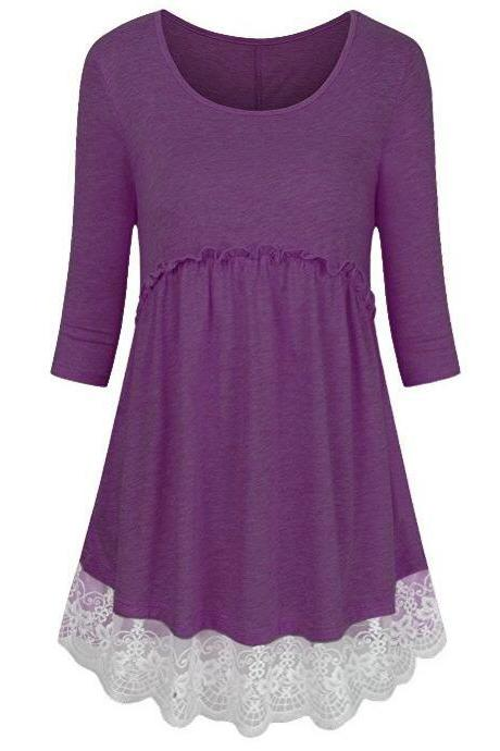 Women Tunic Blouse Cotton Half Sleeve Casual Lace Patchwork Peplum Tops T-Shirt purple