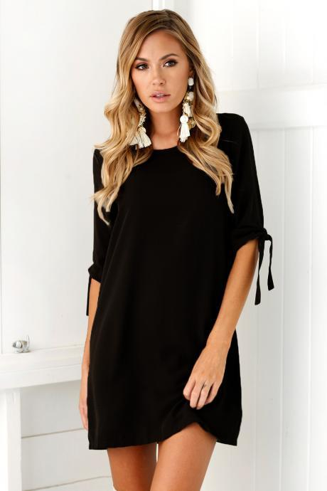 Women Casual T Shirt Dress Half Sleeve Beach Summer Loose Mini Club Party Dress black