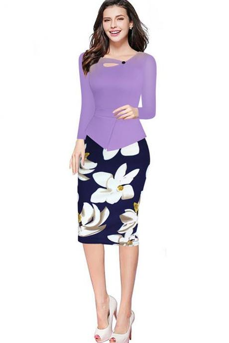 Women Floral Print Patchwork Pencil Dress Half/Long Sleeve Plus Size Slim Work OL Office Bodycon Party Dress 3#