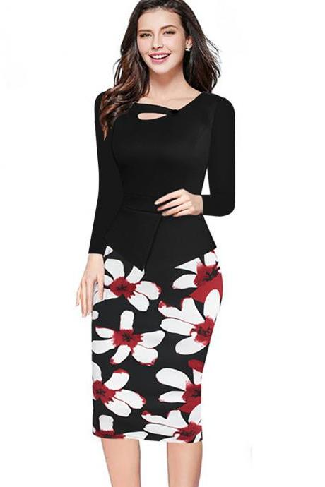 Women Floral Print Patchwork Pencil Dress Half/Long Sleeve Plus Size Slim Work OL Office Bodycon Party Dress 4#